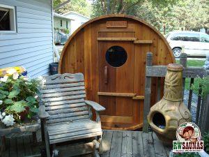 RW Saunas Barrel Sauna off deck