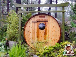 RW Saunas Barrel Sauna with beautiful greenry landscape
