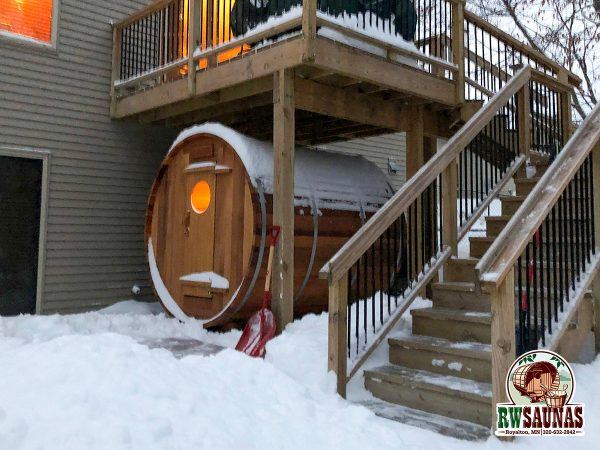 RW Saunas Barrel Sauna in use under deck