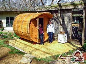 RW Saunas Barrel Sauna with family