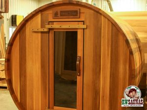 RW Saunas Barrel Sauna custom sign options