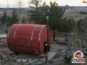 RW Saunas Barrel Sauna with beautiful landscaping