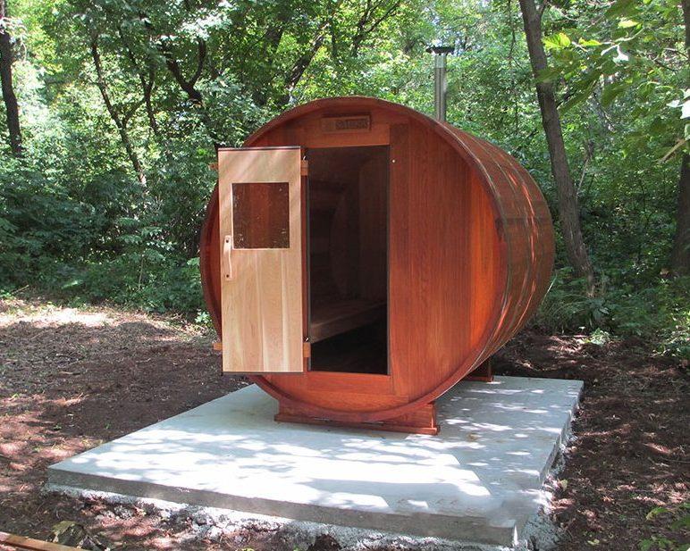 RW Saunas Barrel Sauna on cement pad