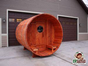 RW Saunas Barrel Sauna ready to be installed