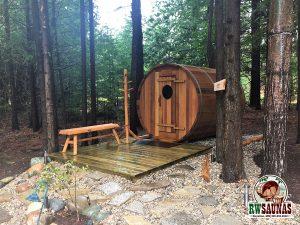 RW Saunas Barrel Sauna with platform entrance