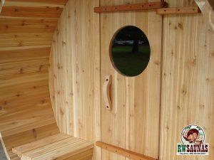 RW Saunas Barrel Sauna with exterior bench seats
