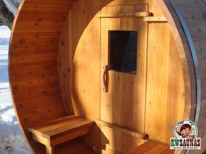 RW Saunas Barrel Sauna with outdoor bench seats