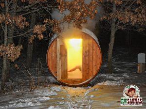 RW Saunas Barrel Sauna in winter