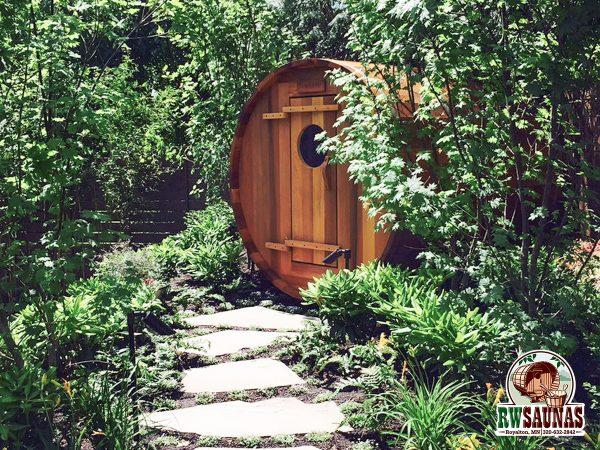 RW Saunas Barrel Sauna nested in trees