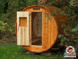 RW Saunas Barrel Sauna with door open to view interior