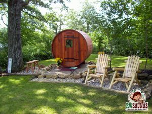 RW Saunas Barrel Sauna in yard